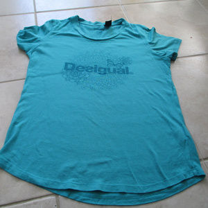 Desigual Women Teal Blue Flower Butterfly T Shirt